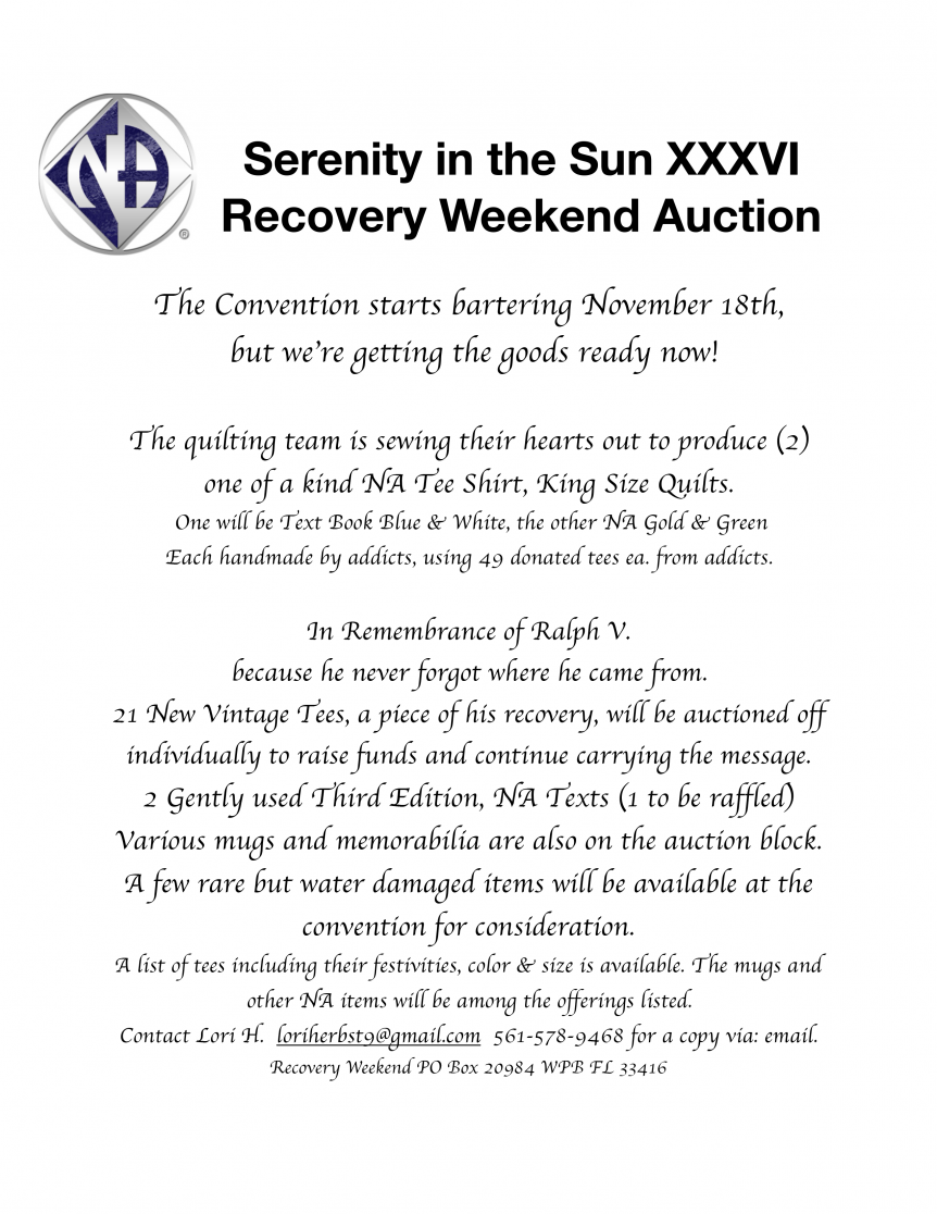 Serenity in the Sun XXXVI Auction - November 18, 2017