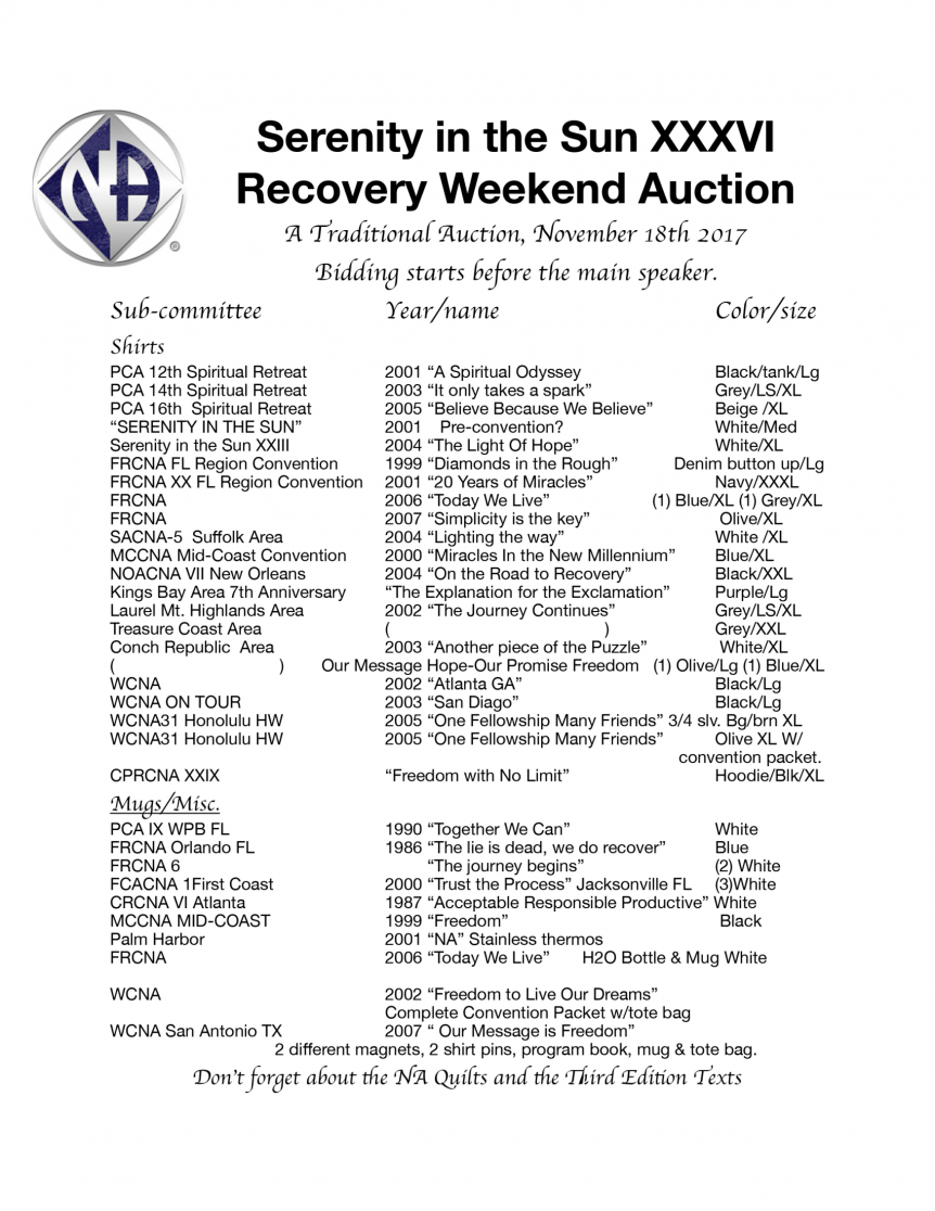 Serenity in the Sun XXXVI Auction List - November 18, 2017
