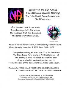 Disco Dance & Speaker Meeting - November 4, 2017