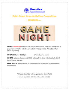 PCNA Activities Game Night - January 6, 2018