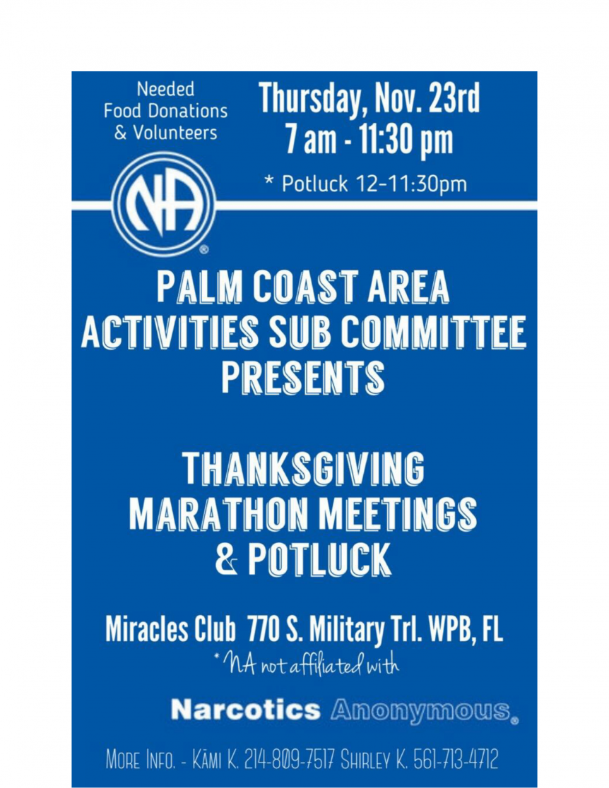 Thanksgiving Marathon Meeting & Potluck - November 23, 2017